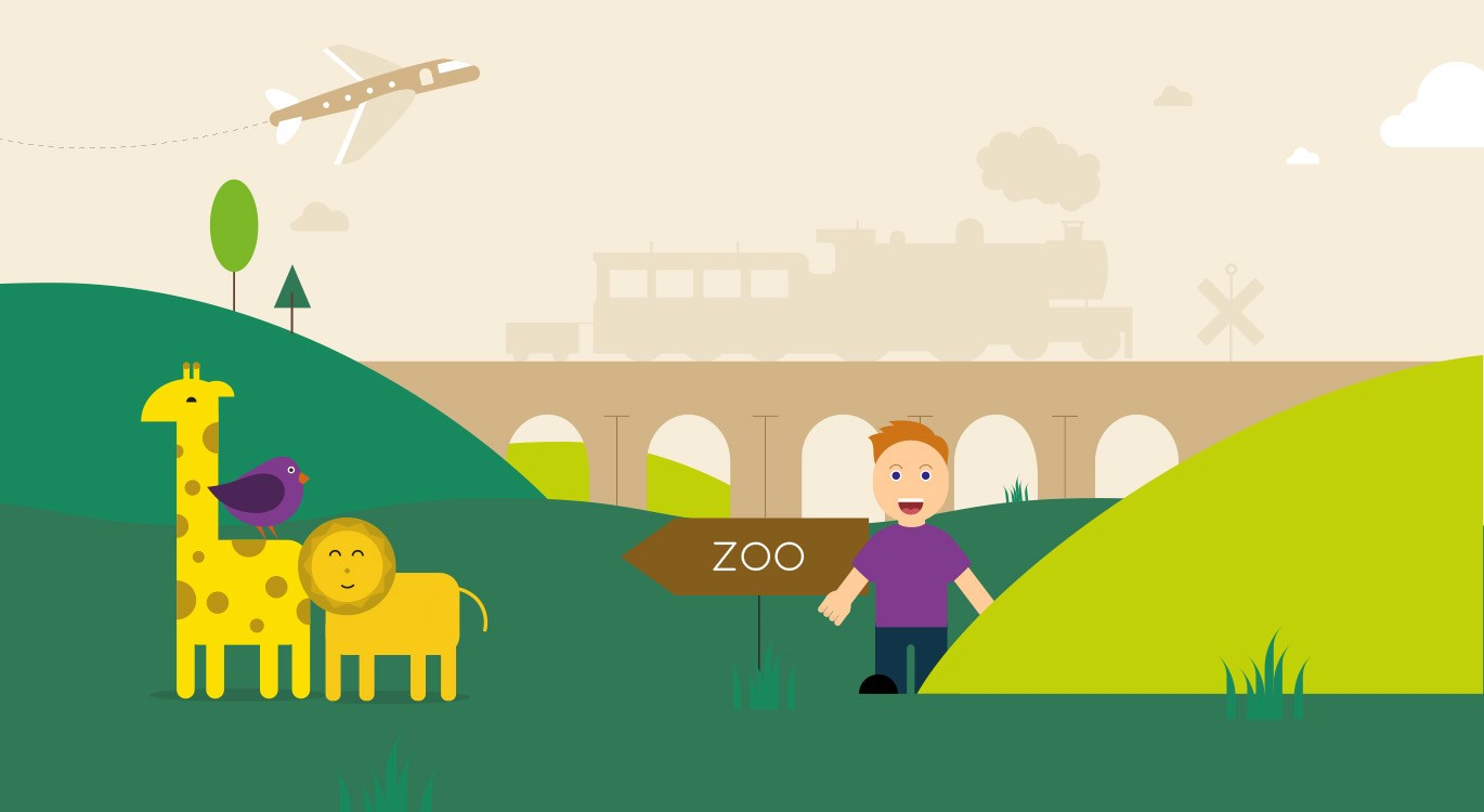 Child having fun with trains, animals, planes in background