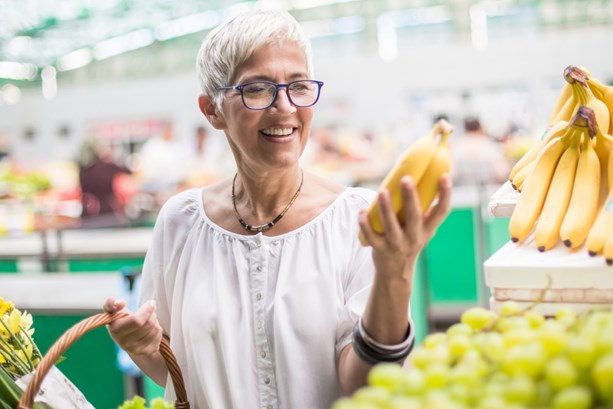 Older lady is a savvy supermarket shopper