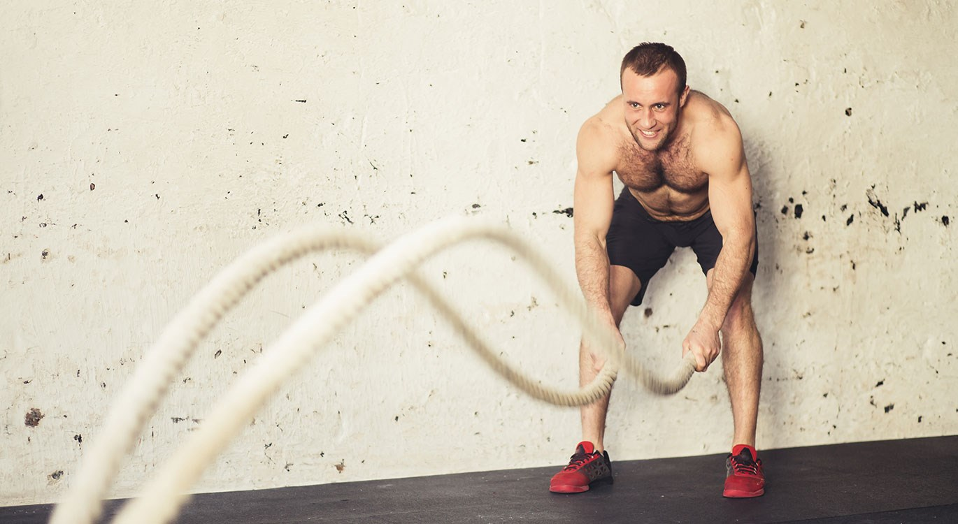 Battle ropes for a workout