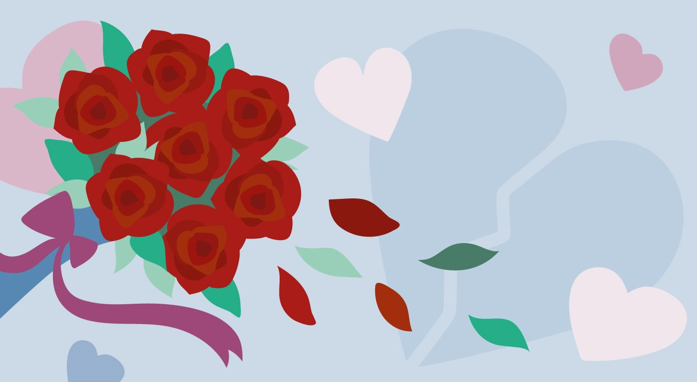 broken heart and wilting roses - feeling lonely at valentines