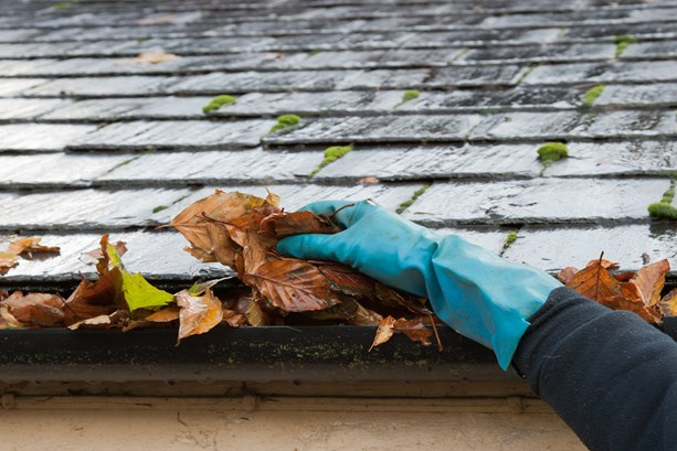 clearing-leaves-from-guttering