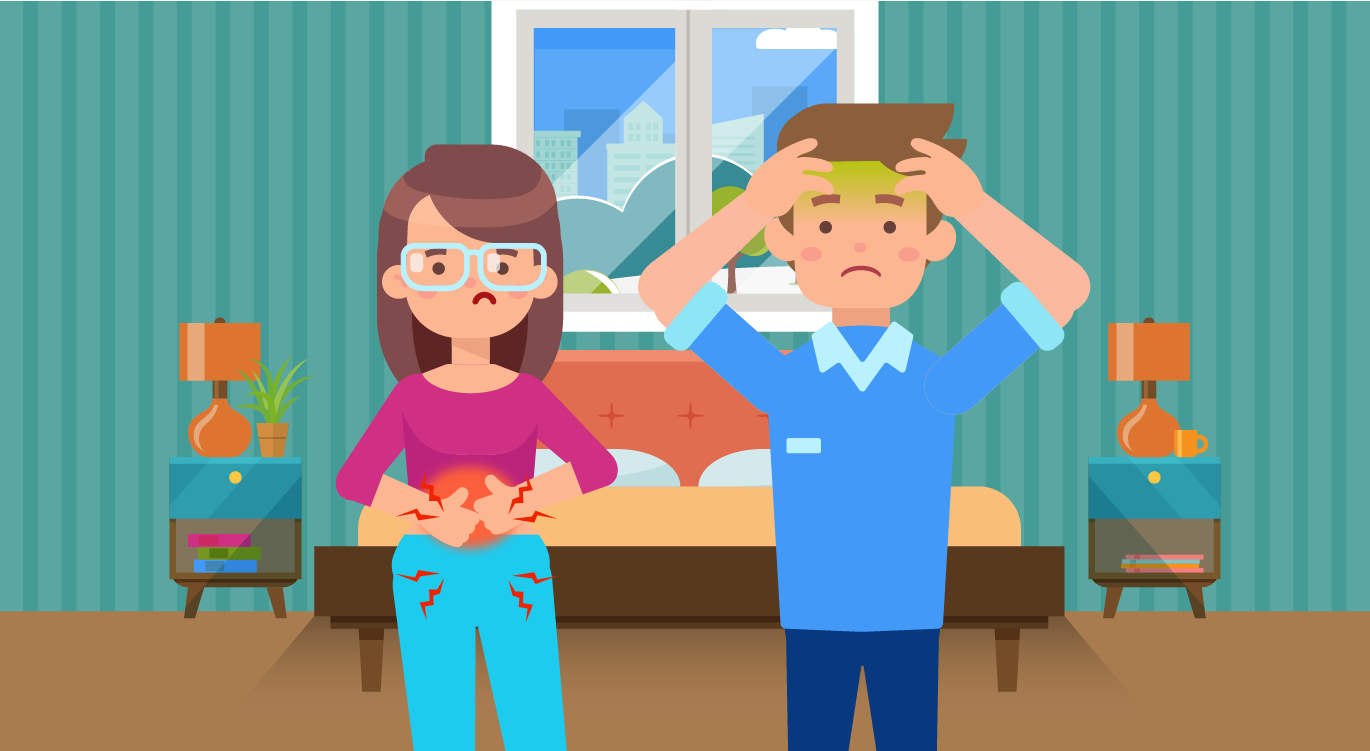 A young couple with norovirus symptoms