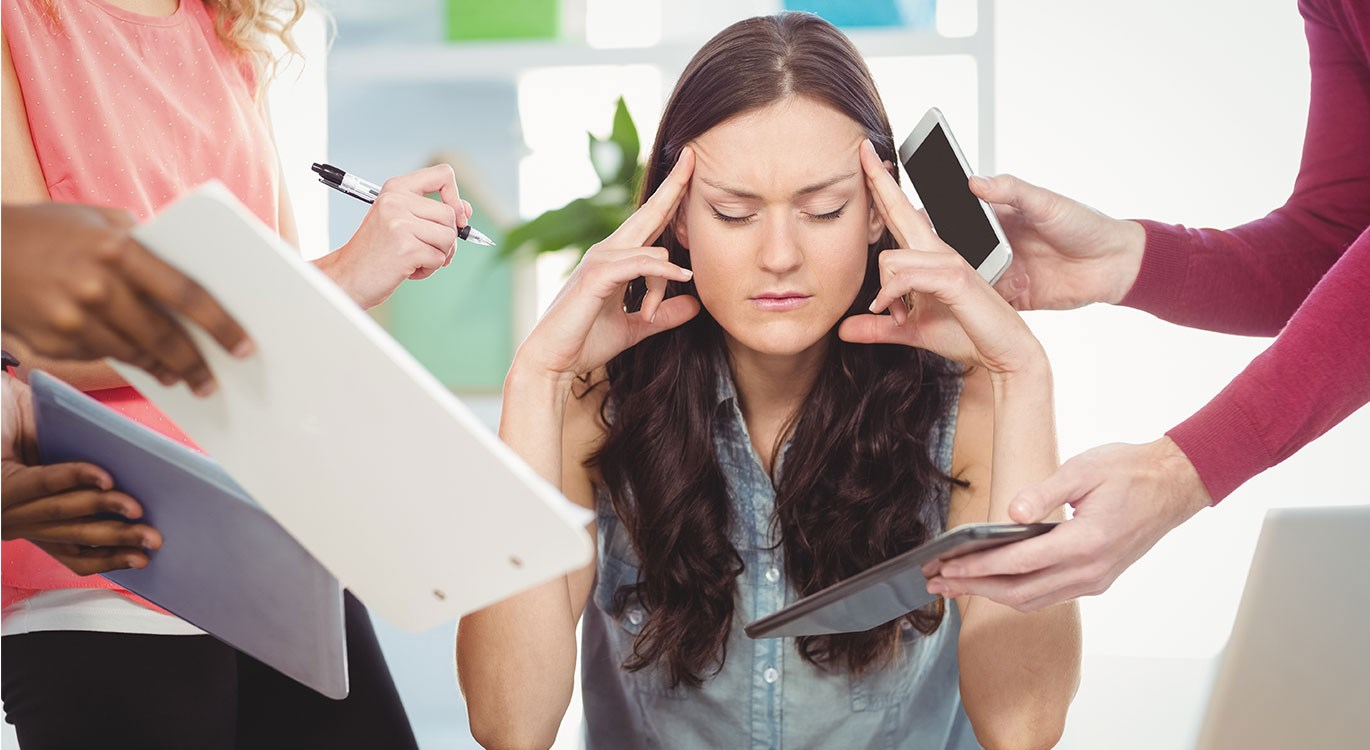 Stress and anxiety - depressed businesswoman not coping with daily pressures