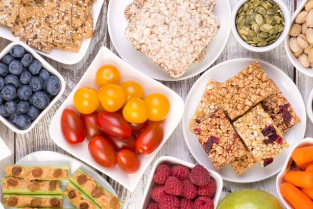 A table full of healthy snacks that can help boost your focus