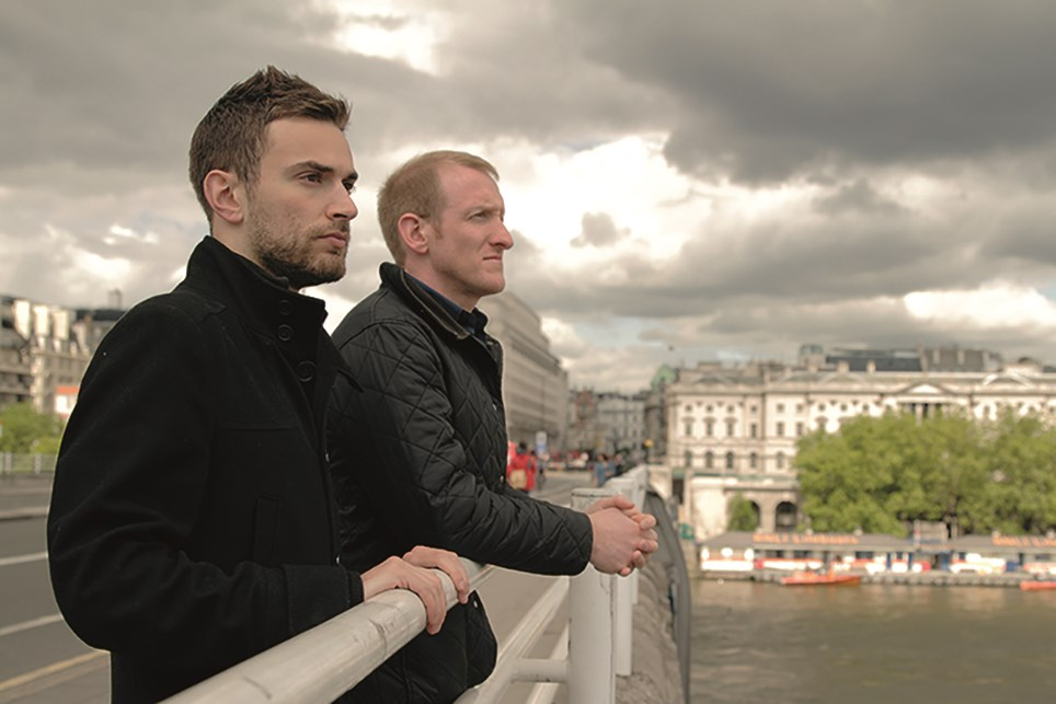 campaigners jonny benjamin and neil laybourn on a bridge together