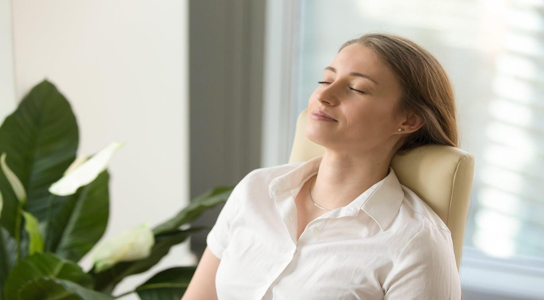 woman relaxing in office