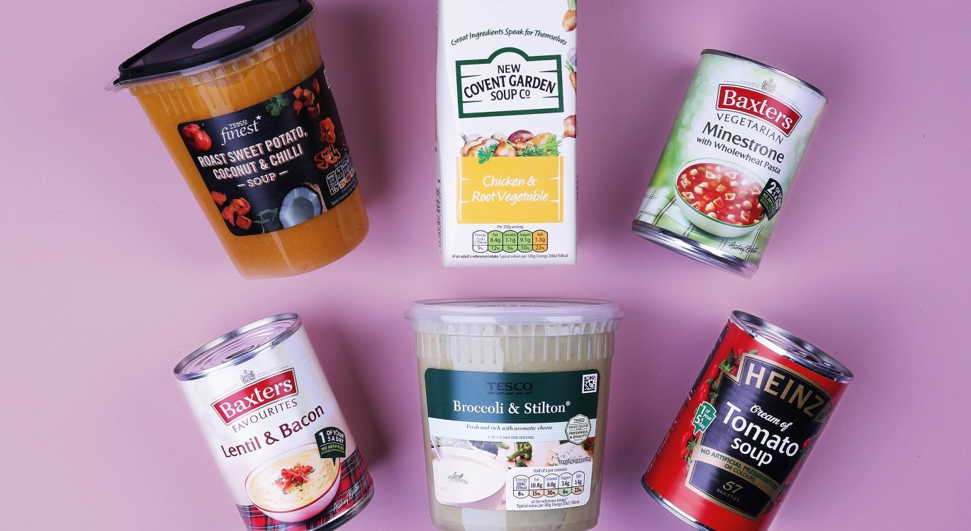 Image of a variety of shop bought soups