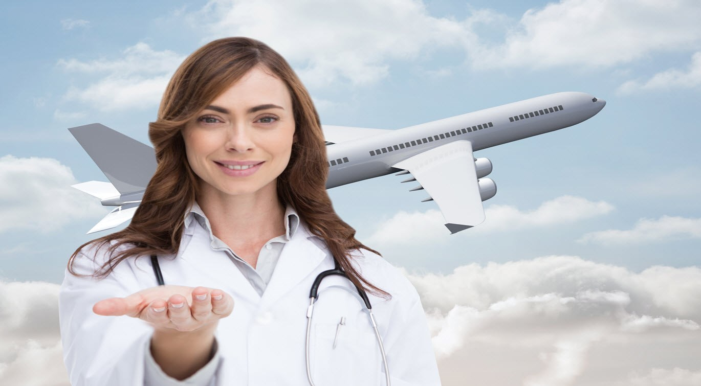 nurse holding out open palm, aircraft image in background